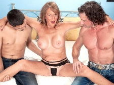 Trisha gets ass-fucked by 2 studs and swallows