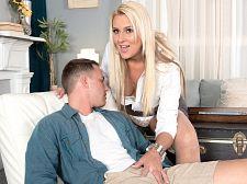 Tall, blond MILF's first XXX